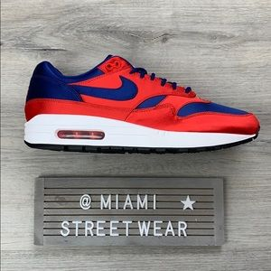 New Nike Air Max 1 Satin Pack Red Blue Mens Shoe